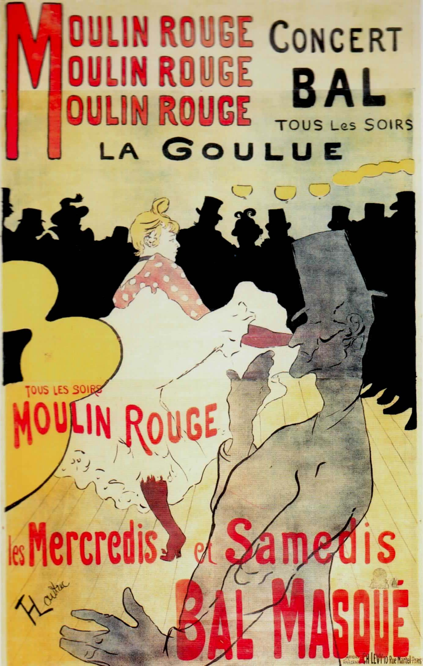 toulouse lautrec's la goulue au moulin rouge Lautrec's first and most well-known poster—moulin rouge, la goulue—depicts the animated dance hall in the moulin rouge spending many evenings at this famed establishment, the artist entertained a close relationship with the venue and its owners, who, at one point, hung his painting of a circus in the entry hall.